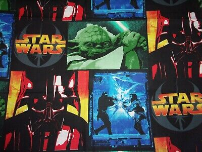 2005 Star Wars Cotton Fabric Yoda Jedi Darth Vader Grievous Htf Oop