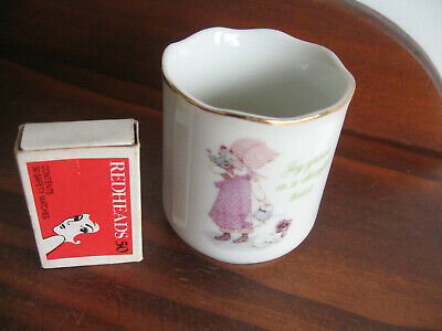 "Holly Hobbie Porcelain Cup ""Joy Grows In A Cheeful Heart"""