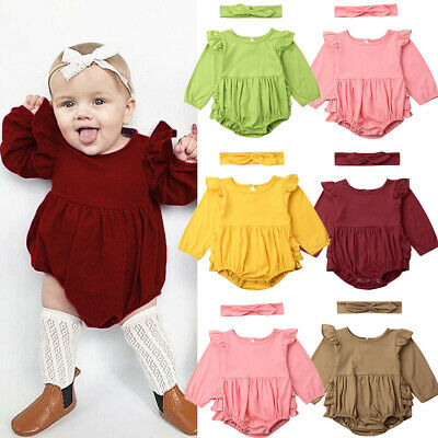 Newborn Baby Girl Ruffle Romper Bodysuit Jumpsuit+Headband Outfit Clothes 0-24M