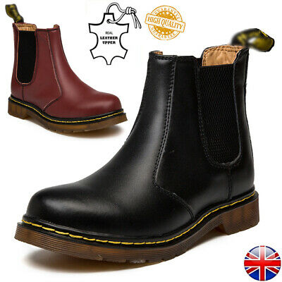 UK Women Chelsea Boots Mens Classic Real Leather Ankle Bootie Fur Shoes Slip On