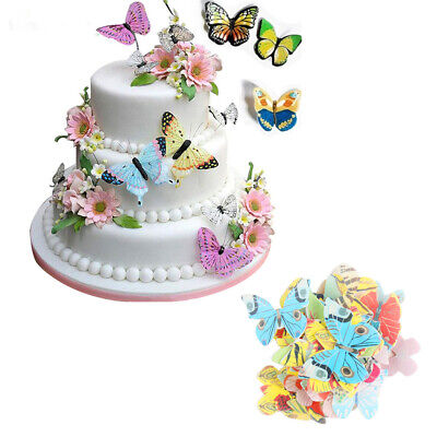 100/360Pcs Pre-Cut Flower Butterfly Edible Wafer Paper Cake Toppers Decorations