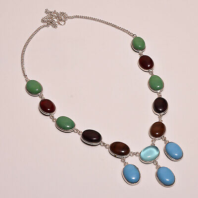 Stunning Multi Stone .925 Silver Plated Handmade Necklace Jewelry JA975