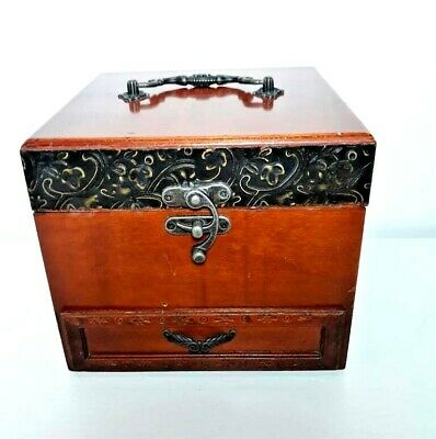 Vintage Wooden Jewelry Box Handmade Inlaid With Engraved Brass Home Decoration