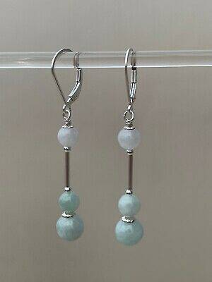 Elegant Genuine Burmese Jadeite Earrings Sterling Silver Lever Backs