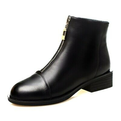 UK Womens Chelsea Ankle Boots Chunky Flat Low Heel Ladies Front Zip Design Shoes