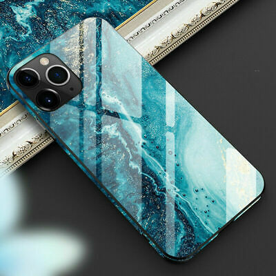 For Apple iPhone 11 Pro Max Luxury Marble Tempered Glass Full Phone Case Cover