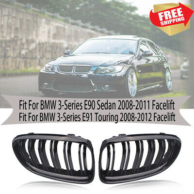 For BMW E90 E91 3 Series Kidney Grill Grille Gloss Black M Style 09-11 LCI Model