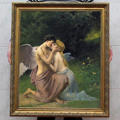 "Old Master-Art Antique portrait oil Painting Kiss Angel on canvas 30""x40"""