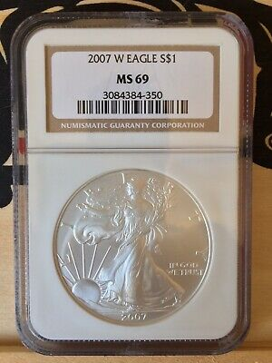 2007-W $1 American Silver Eagle West Point Burnished Ngc Ms69 Brown Label