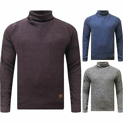New Mens Roll Turtle Polo Funnel Neck Jumper Knitted Winter Cable Knit Warm Top