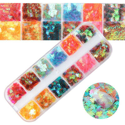 Boxed Nail Art Glitter Sequins Autumn Maple Leaf Color Nail Holographic 12-boxes