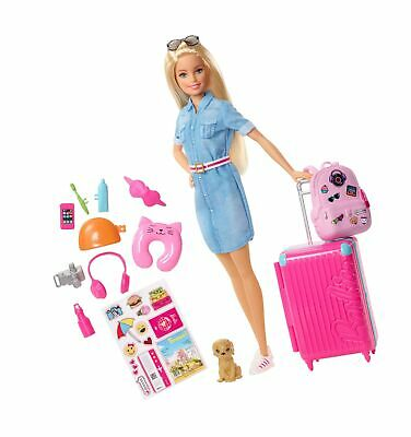 Barbie FWV25 Doll and Travel Set with Puppy, Luggage and 10+ Accessories, Mul...