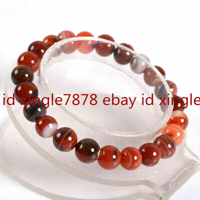"""Natural 10mm Red Agate Round Gemstone Beads Stretch Bracelet 7.5"""" AAA"""