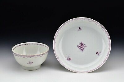Chinese Export Porcelain Handleless Cup & Saucer with Flowers