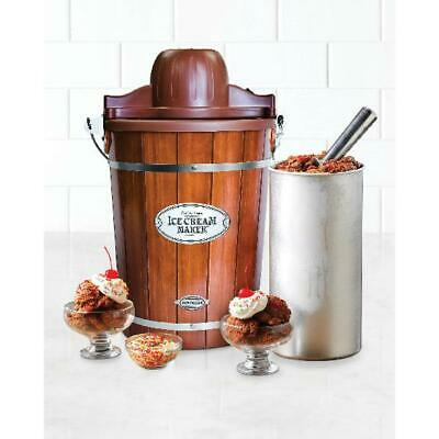 NOSTALGIA 6 QT ICE CREAM MAKER with Recipes, See-through Lid, Wood Construction