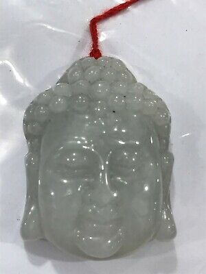 Certified 100% Natural A jadeite jade Hand-carved  Pendant  Buddha head