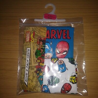 Marvel 2 Pack Childs Vests 18months to 2 Years Free P&P 100% cotton new +tags.