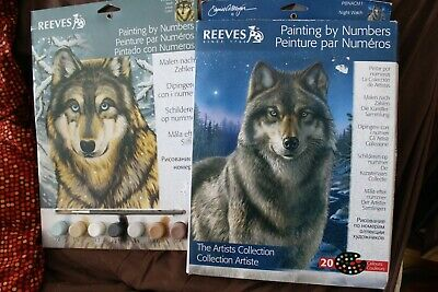 reeves painting by numbers x2 of wolves
