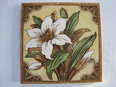 """ANTIQUE VICTORIAN 6"""" FLORAL TRANSFER PRINT & TINT WALL TILE - WHITE LILY No.510"""