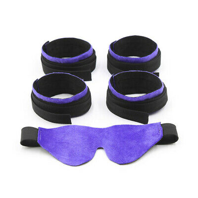 BDSM Sexy Bed Bondage Ankle Cuffs Restraints Rope Kit Handcuffs System eyemask