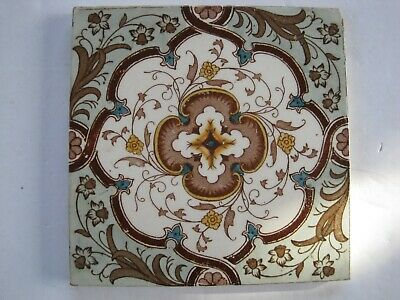 """ANTIQUE VICTORIAN 6"""" AESTHETIC FLORAL TRANSFER PRINT & TINT WALL TILE No.584"""