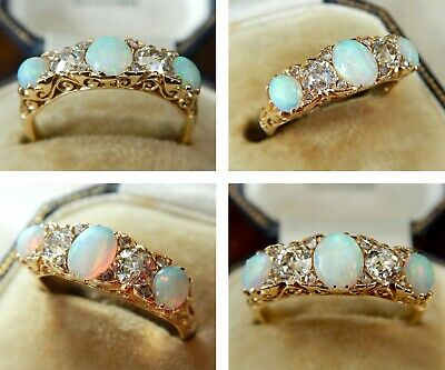 Victorian 18ct Gold 0.72ct Old Cut Diamond & Opal Ring Dated 1898