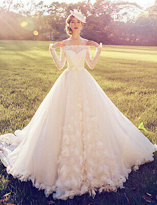 B711 Ball Gown Off the shoulder Lace Long Sleeve Wedding Dress All Size O