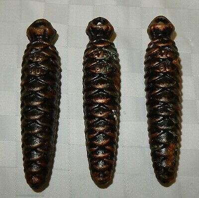 Vintage Trio Cast Iron Fir Cone Cuckoo Clock Weights