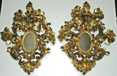 Vintage Italian Florentine Rococo Gilt Wood Carved Mirrored Wall Candle Sconces