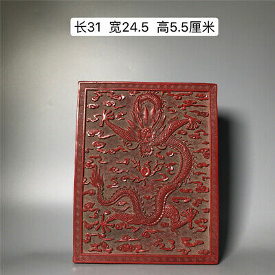 """12.20"""" Chinese Lacquer ware Hand carving Dragon pattern Jewelry box Treasure box"""