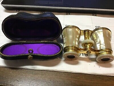 Antique Mother of Pearl Brass Opera Glasses Binoculars with Case
