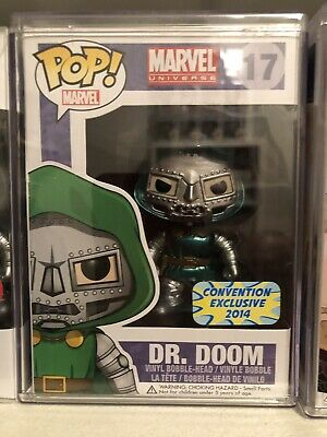 Dr. Doom Metallic Funko Pop Marvel Universe #17 Convention Exclusive Box Damage