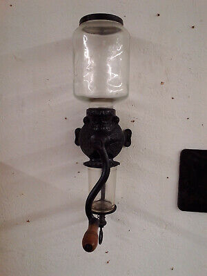 Vintage #3 Crystal Arcade Wall Mount Coffee Grinder Complete Working Condition