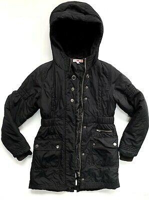 Girls Winter M&S  Black Padded Parka//Coat Age 9/10 Great!  Perfect for school