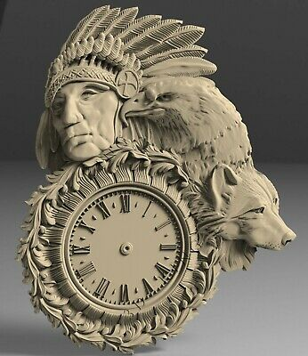 3D STL Model # WALL CLOCK HUNTER # for CNC Aspire Artcam 3d Printer 3d MAX