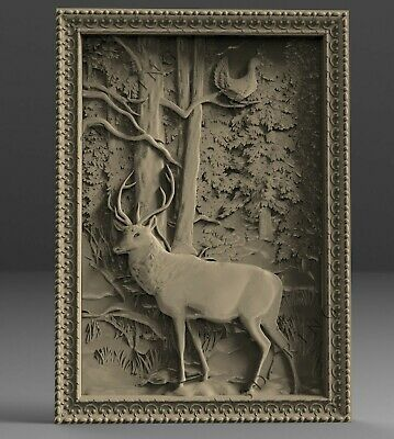 3D STL Model # THE DEER IN THE FOREST # for CNC Aspire Artcam 3d Printer 3d MAX