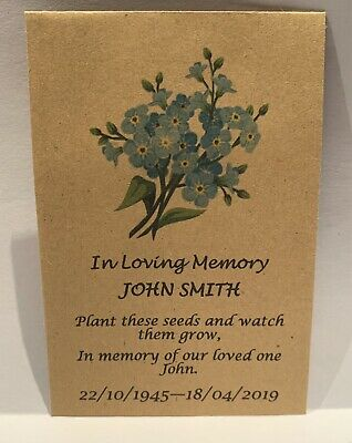 50 Personalised Funeral Favours Seed Packets Forget Me Not Keepsake NO Seeds