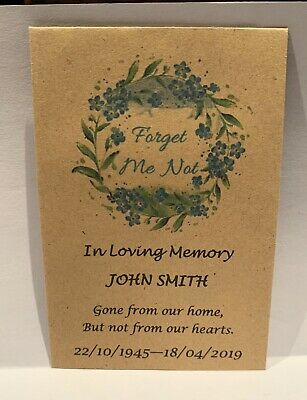 75 Personalised Funeral Favours Seed Packets Forget Me Not Keepsake NO Seeds