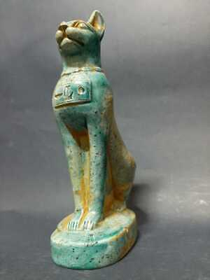 ANCIENT EGYPTIAN ANTIQUES BASTET Cat Pharaoh Ubasti Statue Figure Glazed Stone