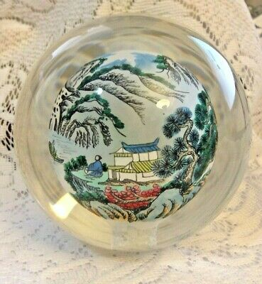 "Japanese Reverse Hand Painted Landscape Scene Paperweight Glass Ball 4 1/4""T"