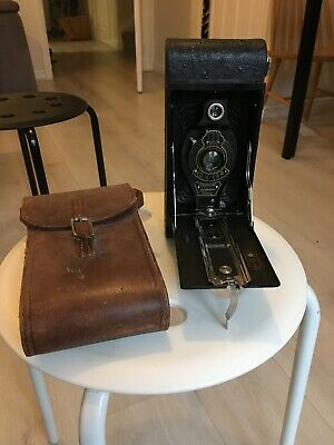 Vintage No. 2A Folding Autographic Brownie Camera With Brown Leather Case #Wow#