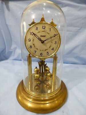 Vintage Brass Wind Up Dome Torsion Clock by VIOLETA Zodiac Dial for repair