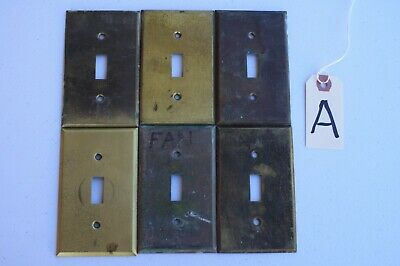 A 6 Stamped Antique Brass Toggle Wall Light Switch Plate Cover