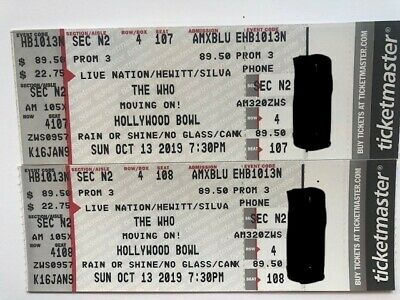 """2 TIX for The Who Tickets @ The Hollywood Bowl 10/13/19 """"Make me an offer"""""""