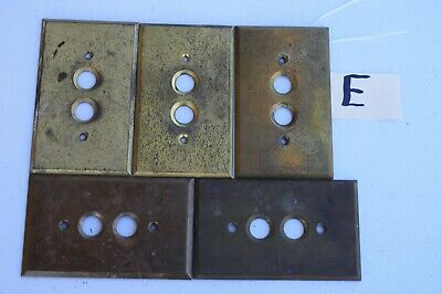E 5 Stamped Antique Brass Push Button Wall Light Switch Plate Cover