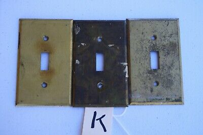 K 3 Vintage Stamped Antique Brass Toggle Wall Light Switch Plate Cover 040 thick