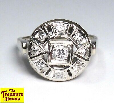 Antique Art Deco 0.50 CT 9-Stone Solid 14K White Gold Diamond Ring Size 8.5 4.6g