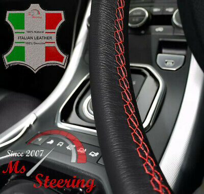 For Nissan Sentra 09-13 Black Leather Steering Wheel Cover, Red Stit