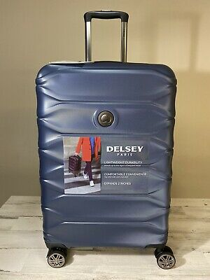 """Delsey Meteor 24"""" Hardside Expandable Spinner Suitcase Midnight Blue New"""