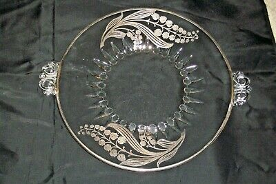 """Antique Art Nouveau Sterling Silver Overlay Glass Handled Cake Serving Plate 10"""""""